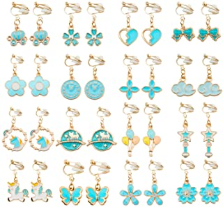 SOTOGO 16 对夹式耳环独角兽花朵蝴蝶耳环,适合小女孩和女士