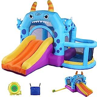 Whubefy 儿童充气弹跳屋,带鼓风机的巨型跳跃城堡,跳跳跳跳椅带滑梯,球盆,大型有趣的弹跳区,147 x 120 x 95 英寸(约 370.8 x 320 x 241.3 厘米)