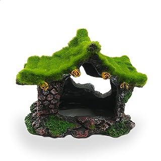 E.YOMOQGG 水族箱装饰中空房,人造树脂藏匿岩房子与苔藓,鱼贝塔隐藏洞穴,小蜥蜴*休息玩耍鱼缸景观装饰配件