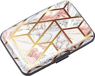 女士信用卡夹,迷你 RFID 屏蔽纤薄金属硬质卡套,保护女士信用卡钱包