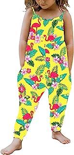 幼儿女孩儿童花卉连身衣连体裤无袖肩带豹纹/向日葵整体裤夏季服装