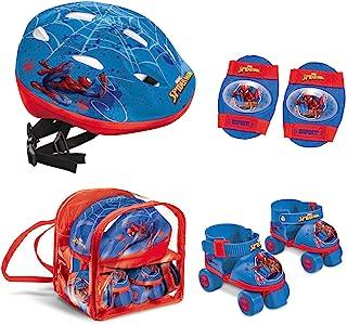 Mondo pattini a rotelle regolabili 套装 completo Toys 28629 蜘蛛侠 Marvel 儿童轮滑鞋,尺码 22 至 29 - 完整套装带透明口袋,肘部保护,护膝和头盔