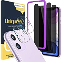 [4 件装] UniqueMe 2 件装隐私屏幕保护膜,适用于 iPhone 11 6.1 英寸(约 15.5 厘米)和…