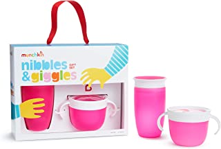 Munchkin 迷你小宝宝礼品套装,包括 10 盎司奇迹 360 杯子和零食接球器,粉色