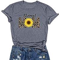Blessed Mom 向日葵字母印花图案 T 恤女式宽松休闲短袖 T 恤上衣性感妈妈礼物
