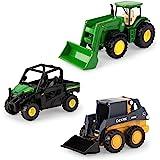 ERTL 3 英寸(约 7.6 厘米)铁质 3 件装 John Deere 压铸复制品 - 拖拉机、短吻鳄和滑行玩具