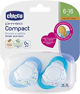 Chicco 智高 Physio Compact 奶嘴 乳胶/橡胶材质 6 – 16 个月 蓝色 2 件