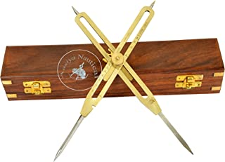 艺术家比例尺分隔器绘图工具专业 22.86 厘米长实心黄铜带重型钢尖,带木盒