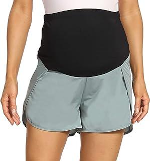 V VOCNI 孕妇短裤冰丝凉爽锻炼跑步短裤 2 合 1 运动瑜伽健身运动短裤带口袋