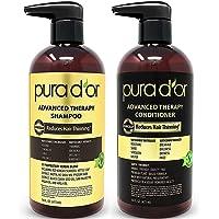 PURA D'OR 生物素洗发水和护发素 Advanced Therapy System 增加发量,强度和光泽,不含硫酸…