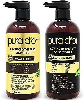 PURA D'OR 生物素洗发水和护发素 Advanced Therapy System 增加发量,强度和光泽,不含硫酸盐,由摩洛哥坚果油制成,适用于所有发质,男女均可用,16液盎司(473ml)(包装可能有所不同)