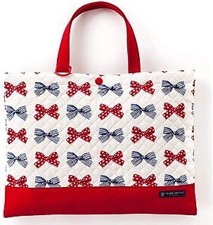 课程包(绗缝)绘本袋 手提 浴室包 波尔卡圆点和条纹的法式蝴蝶结(象牙色) N0238000