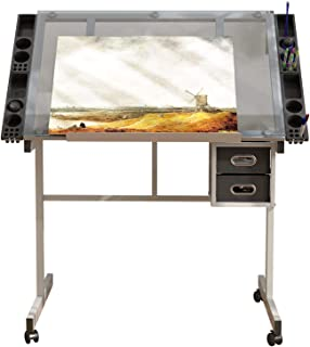 Soges 40 英寸(约 103.9 厘米)可调节起草桌,钢化玻璃顶绘桌,绘画桌,艺术工艺站,学习桌,带 2 个抽屉和轮子,用于绘画阅读 CZKLD-028