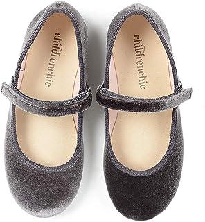 Childrenchic Mary Jane 平底鞋带魔术贴 – 女孩鞋(婴儿,幼儿,小童) Velvet - Grey 4.5-5 Toddler