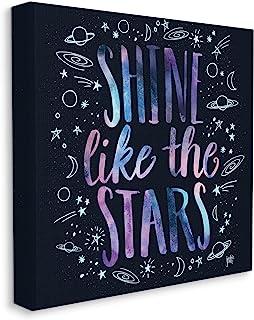Stupell Industries Shine Like Stars 短语宇宙排版星座素描,由 Jackie Quigley 帆布墙壁艺术设计,17 x 17,多色