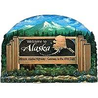 阿拉斯加州欢迎标志木冰箱磁贴 2