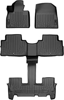 SMARTLINER SA0472/B0495 贴合地垫,黑色 2 排衬垫套装,适用于 2020-2021 现代 Palisade w/斗式座椅