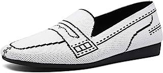 SwiftMovement 女式针织乐福鞋一脚蹬平底鞋,软帮方形鞋头步行鞋