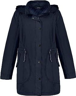 Ulla Popken 女士棉质派克大衣 带条纹对比色