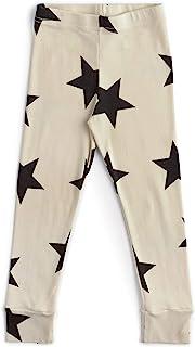 NUNUU 婴儿和婴儿打底裤 - 柔软棉质中性款裤子,适合婴儿、女孩和男孩,天然 - 星星,18-24 个月