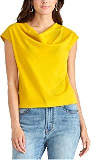 Rachel Roy 女式黄色无袖堆领上衣 M 码