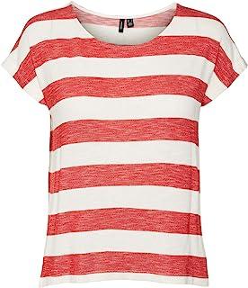 VERO MODA 女士 Vmwide 条纹 S/L 上衣 Ga Noos T 恤