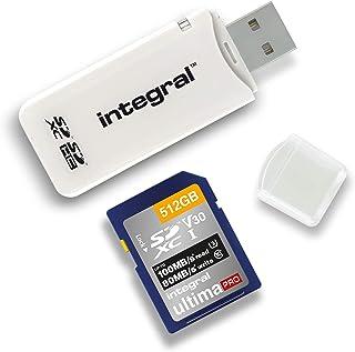 Integral AMINCRSD SD 读卡器 USB2.0 适用于 SD、SDHC、SDXC 存储卡、USB 2.0 存储卡适配器,白色