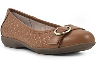CLIFFS BY WHITE MOUNTAIN 女式 Clara II 舒适平底棕褐色/光滑尺寸 9.5W 芭蕾,9.5 宽
