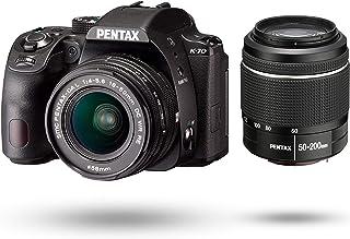 PENTAX K-70 双变焦镜头套件(DAL18-50mm+50-200mm) 黑色 海外款 数码单反相机 超高灵敏度・高画质 2424万像素 适合户外使用 机身内手抖补偿 明亮易看的视野率*光学取景器 附带日语使用说明书 16296