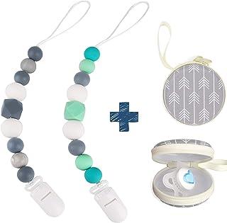 Dodo Babies 硅胶奶嘴夹,2 个装,优质现代设计通用固定皮带,适合男孩和女孩,出牙玩具或安抚宝宝沐浴礼套装