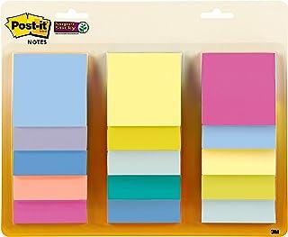Post-it *便签纸,3 x 3 英寸(约 7.6 x 7.6 厘米),各种粉彩色,15 个衬垫,2 倍粘合力,可回收 (654-15SSPS)