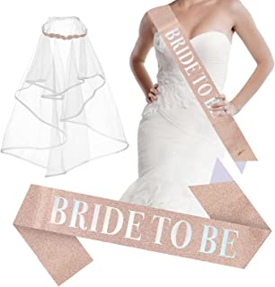 Bride to Be Sash and Long Bride 面纱单身派对装饰头巾 适用于新娘淋浴派对 玫瑰金腰带和白色文字订婚装饰