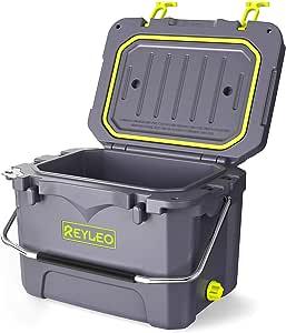 REYLEO 野营冷却器,21 夸脱,3 天保温,便携式旋转冷却器,30 罐容量,抗熊冰柜(内置开瓶器,杯架,鱼尺) 21QT 灰色