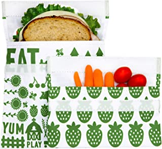 Lunchskins Reusable Sandwich & Snack Bag Set 绿色 绿色