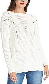 Rachel Roy 女式白色纹理长袖圆领毛衣尺码 XL