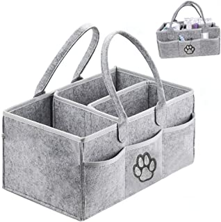 Baby Diaper Caddy Organizer 适合女孩和男孩 灰色 - 便携式尿布架,尿布篮,适用于换尿布台,育儿储物箱 - 尿布收纳袋,*佳注册婴儿派对礼物