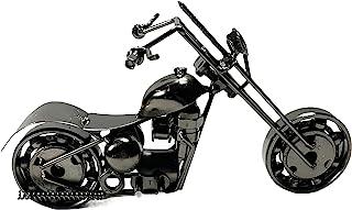 金属摩托车工业自行车手切碎机办公室桌雕塑 8 英寸复古再生金属经典手工铁螺栓螺母胖男孩独特男人洞艺术装饰自行车链(M1 银色)