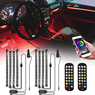 [2 件装] FOVAL 汽车 LED 灯,4 个 72 个 LED 应用控制器内部 LED 灯,用于汽车遥控多色音乐下仪表板大气灯,包括车载充电器,DC 12V