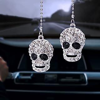 OIIKI 闪亮汽车配件,水晶水钻骷髅吊坠,汽车内饰后视镜装饰,幸运悬挂内饰装饰吊坠,适合女士女孩