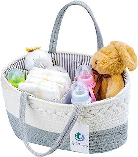 Baby Diaper Caddy 收纳包 - 时尚 * 纯棉帆布便携式尿布收纳篮 - 带帆布袋