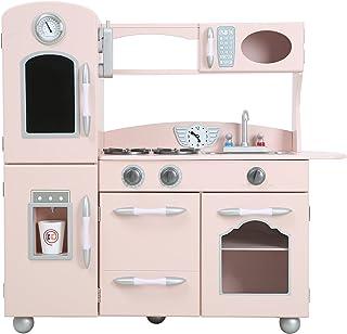 Teamson 儿童粉色木制玩具厨房带冰箱和烤箱 TD-11414P