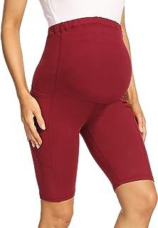 "V VOCNI 孕妇打底裤瑜伽裤*板 3D 切割拼色高腰25 英寸(约 63.5 厘米)锻炼跑步孕妇紧身裤 9""wine Red-pockets Cross Seams Medium"