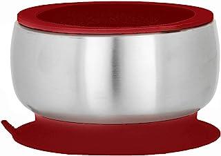 Avanchy - 不锈钢婴儿碗 带空气密封盖防溅 保持吸盘环,12.7 厘米 × 7.62 厘米碗尺寸 紫红色