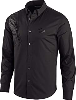 Harley-Davidson 男士拉鏈口袋彈力襯衫