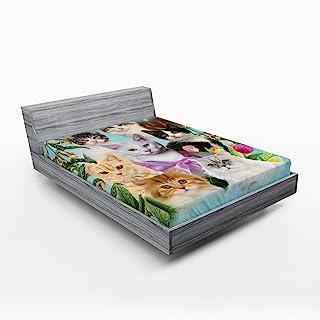Ambesonne 爱猫人士床笠,摘要组成的猫猫家养宠物绽放插图,柔软装饰织物床上用品全圆弹性口袋,全尺寸,灰色