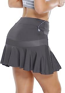 OBICUM 女式运动短裙,带口袋内置短裤褶皱锻炼跑步高尔夫网球裙