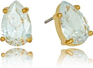 Lifetime Jewelry 9 毫米方晶锆石泪滴耳钉,24k 真金