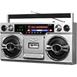 Victrola VBB-10-SLV 80 年代蓝牙 Boombox 带磁带播放器和 AM/FM 收音机,银色