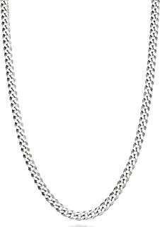 MiaBella 纯 925 纯银意大利 3.5 毫米钻石切割古巴链项链女士男士,40.64 厘米 - 45.72 厘米 - 55.88 厘米 - 60.96 厘米 - 66.04 厘米