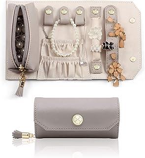 Vlando 旅行首饰收纳盒,便携式旅行首饰卷,迷你尺寸和轻质珠宝收纳袋,日常首饰,适用于手链、耳环、戒指(灰色)